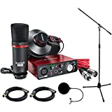 Focusrite Scarlett Solo Studio Pack 2nd Gen & Recording Bundle w/ Pro Tools, Includes, Universal Pop Filter Microphone Wind Screen,10' Premier Series XLR Male-XLR Female 16AWG Cable&Microphone Stand