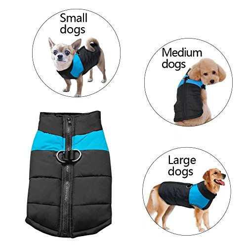 Didog Cold Weather Dog Warm Vest Jacket Coat - Pet Winter Clothes for Small Medium Large Dogs - 8 Sizes Available - Blue - 5XL Size