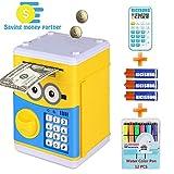 RICISUNG Trustworthy Cartoon Electronic Piggy Bank,ATM Password Piggy Bank Cash Coin Can Auto Scroll Paper Money for Children Gift Toy (Yellow)