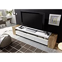 "JULE II TV Cabinet – Large TV stand - Solid Oak box TV console with three drawers and spacious shelf - for up to 90"" TVs"