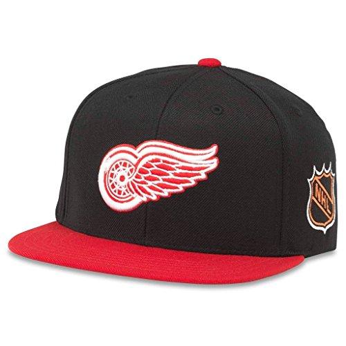 American Needle Blockhead 2 NHL Team Flat Brim Hat, Detroit Red Wings, Black/Red (43732A-DRW)