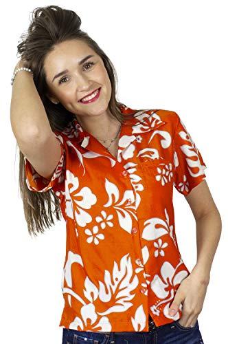 - King Kameha Funky Hawaiian Blouse Shirt, Shortsleeve, Hibiscus, Orange, 3XL