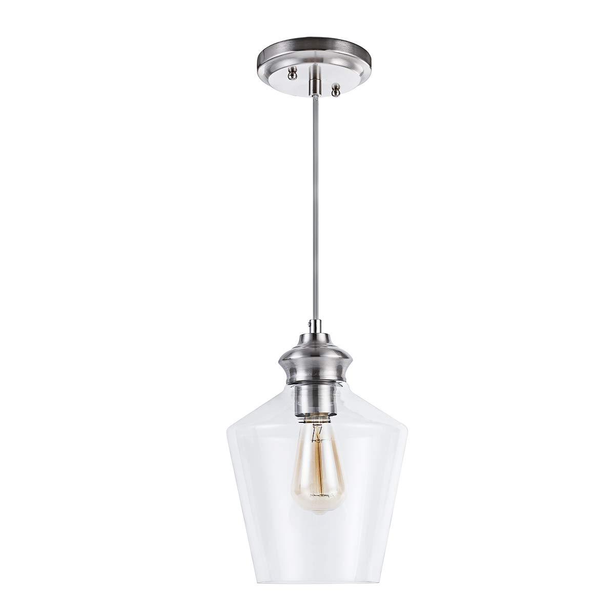 Lanros Mini Pendant Lights, Hand Blown Clear Glass Drop Ceiling Pendant Lighting for Kitchen, Dining Room, Bar,Restaurants, Hotels, Satin Nickel