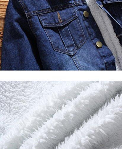 Di Giacchetta Blu Denim Uomo Con Jean Moda Trucker Tasca Giacca Zkoo Scuro Spesso Jacket Jeans 4AtOxwfqZ0
