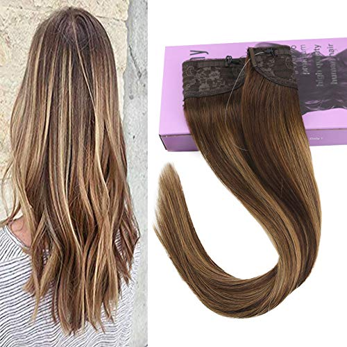 (VeSunny 16inch Flip on Hair Extensions Human Hair Color #4 Dark Brown Ombre #27 Caramel Blonde Mix #4 Brown Hidden Halo Hair Extensions Human Hair 11