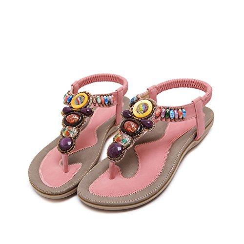 verano de 4 Color EU40 Para HAIZHEN CN41 femeninas mujer Sandalias Zapatos Tamaño de zapatos Zapatos de Pink mujeres UK7 damas planos Casual colores Albaricoque con UU61PX