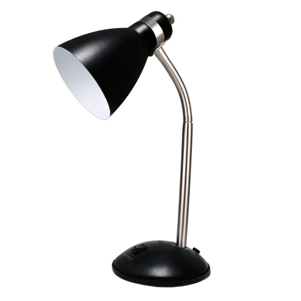 LEPOWER Metal Desk Lamp, Adjustable Goose Neck Table Lamp, Eye-Caring Study Desk Lamps for Bedroom, Study Room and Office (Black)
