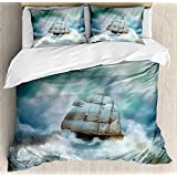 Ocean 4 Piece Bedding Duvet Cover Sets for Kids/Adults/Teens/Children - Full Luxury Soft Lightweight Brushed Microfiber, Majestic Nautical Sealife and Pirate Boat Ship on a Wavy Deep Sea Art Print