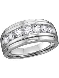 10kt white gold mens round diamond band wedding anniversary ring 12 cttw - Amazon Wedding Rings