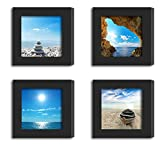 4Pcs 4x4 Real Glass Wood Frame Black Fit Family Image Pictures Photo (Window 3.6 x 3.6 inch ) Desktop Stand or Wall Hang Family Combine Square Blue Sky Sea Beach Decoration (9-12)