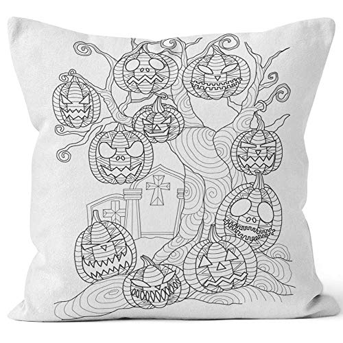 Nine City Hand Drawn Halloween Pumpkin on The Dead Tree for Adult Coloring Page Sack Burlap Pillow,HD Printing Square Pillow case,24