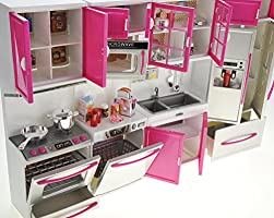 Amazon Com Powertrc My Modern Kitchen 32 Full Deluxe Kit Battery Operated Toy Doll Kitchen Playset W Lights Sounds Perfect For Use With 11 12 Tall Dolls Stove And Dishwasher Toys Games