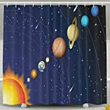 TRUSTINEEgyl Solar System With Sun Uranus Venus Jupiter Mars Pluto Saturn Neptune Decorative Polyester Fabric Shower Curtain Waterproof & Antibacterial And Eco-friendly 100% Polyester 60'' X 72''