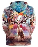 GLUDEAR Unisex Realistic 3D Digital Print Pullover Hoodie Hooded Sweatshirt,Reindeer,L/XL