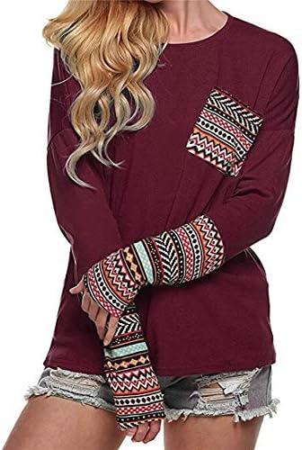 Elegancka damska koszulka z okrągłym dekoltem, elegancka i wygodna, patchworkowa, z okrągłym dekoltem, elegancka damska: Odzież