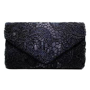 Fanspack Womens Clutch Purse Envelope Lace Evening Handbag Party Wedding Purse Crossbody Bag with Chain Strap (Black)