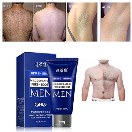 Hair Remove Cream,Enjocho 60ml Men's Permanent Body Hair Removal Cream Hand Leg Hair Loss Depilatory Cream (Blue)
