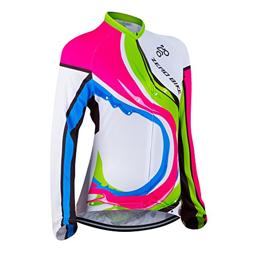ZEROBIKE Women's Long Sleeve Cycling Outdoor Sports Jersey Polyester Full Zip Autumn (Cycling Sleeve Womens Jersey Long)