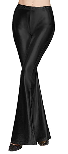89e705a19a951 Tamskyt Womens Wide Leg Shiny Liquid Metallic Bell Botton Flared Palazzo  Pants (One Size