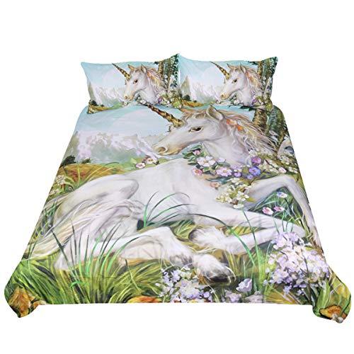 Sleepwish Unicorn Bedding 3 Piece Flower Girl Bedding Set Cartoon Unicorn Pink Black Bedspreads Cute Duvet Covers for Teens Twin