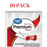 Great Value Premium Napkins, Soft & Strong, 100 Count (Pack of 10)