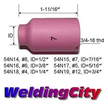 WeldingCity 10-pk Gas Lens Ceramic Cup 54N16 #6, 3//8 18 and 26 Series in Lincoln Miller ESAB Weldcraft CK Everlast for TIG Welding Torch 17