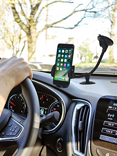 CAR Mount Cell Phone Holder, 13 Inches Long Arm with Anti-skid Base with Strong Suction model 2018 for iPhone 8P/8/7/7P/6s/6P/5S, Galaxy S5/S6/S7/S8, Google, LG, Huawei and More by Comano (Image #1)