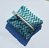 Ear Bud Pouch / Earbud Holder / Zip Pouch / Mini Zip Pouch / Jump Drive Holder ::: Silver Chevron on Teal