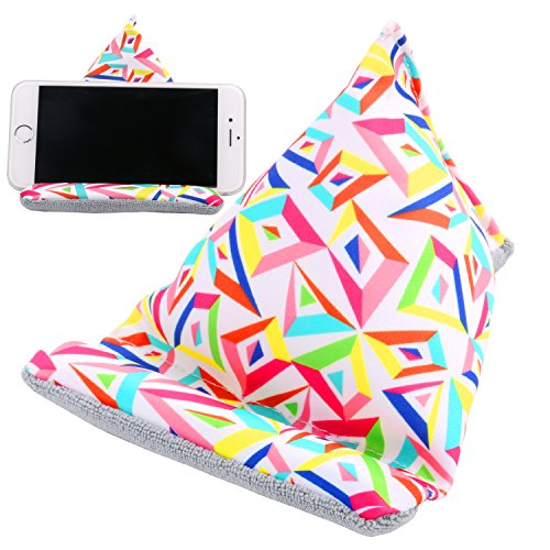 Plinrise Multifunctional Iphone Bed & Lap Stand, Bean Bag, Universal Phone Holder, Soft Mounts For Smartphones, Best Gift To Friends And Families - Colorful Rhombus