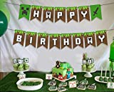 PIXEL THEME HAPPY BIRTHDAY BANNER - Pixel party supplies Birthday party supplies Mindcraft party decorations Pixel banner Boys birthday party supplies Banner Birthday party decorations happy birthday banners Green party decorations Video games party favor