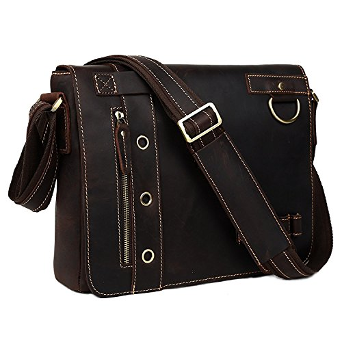 BAIGIO Leather Vintage Laptop Office Messenger Bag Satchel Shoulder Bags Briefcase, Dark Brown by BAIGIO