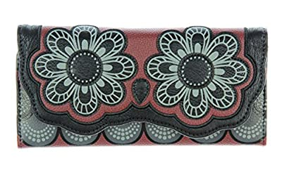 Loungefly Black Grey And Burgundy Owl with Flower Eyes Snap-Closure Wallet
