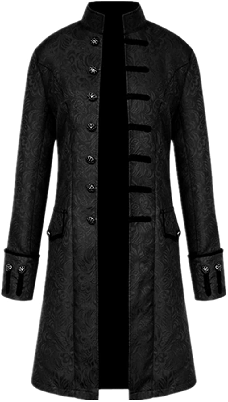 Crubelon Men's Steampunk Vintage Tailcoat Jacket Gothic Victorian Frock Coat Uniform Halloween Costume: Clothing