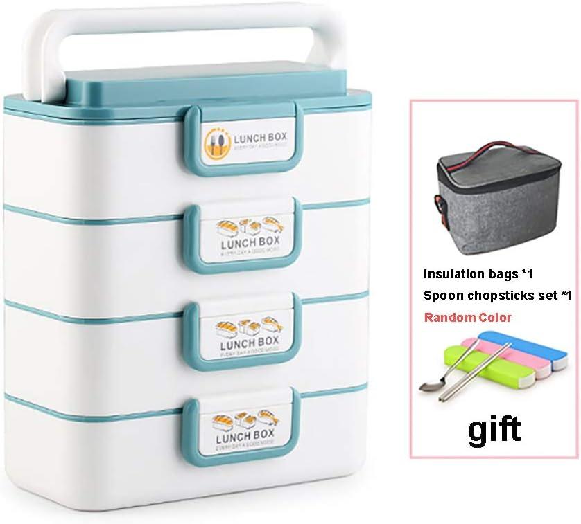 AZJ-AJR Fiambreras a Prueba de Fugas Bento Box, con Reutilizable Estilo Cubiertos por Bento Cajas para Adultos de los niños el Trabajo Escolar,Azul,4
