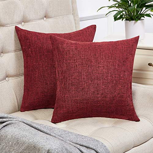Anickal Set of 2 Burgundy Pillow Covers Cotton Linen Decorative Square Throw Pillow Covers 18x18 Inch for Sofa Couch - Burgundy Cover