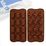 kilofly Non-Stick Silicone Chocolate Mold Tray Pack [Set of 2], Robot & Dinosaur