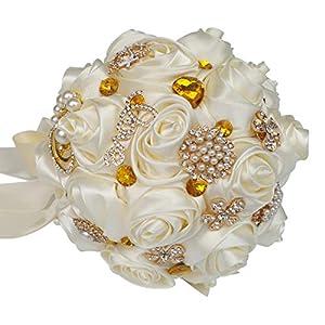 HORHIN Handmade Wedding Bouquet Crystal Pearl Silk Roses Rhinestone Bridal Bridesmaid Wedding Hand Bouquet Artificial FlowersIvory 3