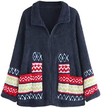 Fashion Winter Overcoat for Women Plus Size Vintage Outwear Top Printed Sweater Blouse Coat Zip Up with Pocket