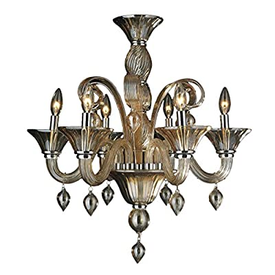 Worldwide Lighting W83175C23-AM Murano Venetian Style 6 Light Blown Glass Chandelier, Polished Chrome