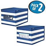 mDesign Soft Stackable Fabric Closet Storage Organizer Holder Box - Clear Window, Attached Hinged Lid, for Child/Kids Room, Nursery - Striped Pattern - Large, Pack of 2, Navy Blue/White