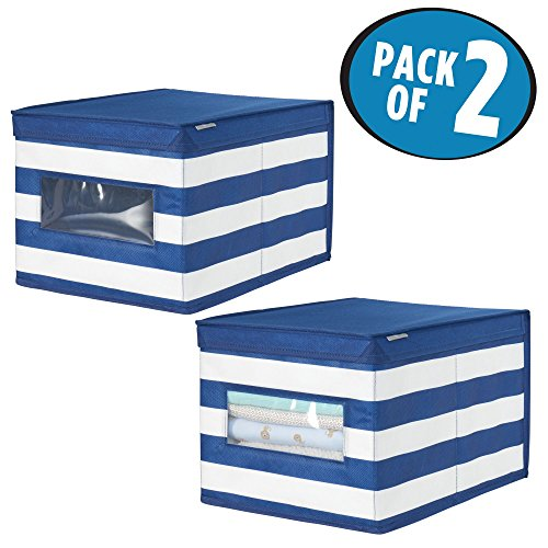 mDesign Soft Stackable Fabric Closet Storage Organizer Holder Box - Clear Window, Attached Hinged Lid, for Child/Kids Room, Nursery - Striped Pattern - Large, Pack of 2, Navy Blue/White by mDesign