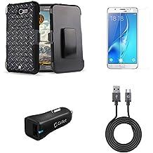 Samsung Galaxy J7 (J7 V, Perx, J7 Prime, Sky Pro, Halo) - Bundle: Dual Layer Shockproof Kickstand Belt Holster Case - (Diamond Plate), Screen Protector, 18W QC 3.0 Car Charger, USB Cable, Atom Cloth
