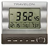 Travelon Large Display Travel Alarm Clock, Silver, One Size