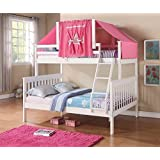 Twin Over Full Mission Bunk Bed with Tent Kit in White and Pink