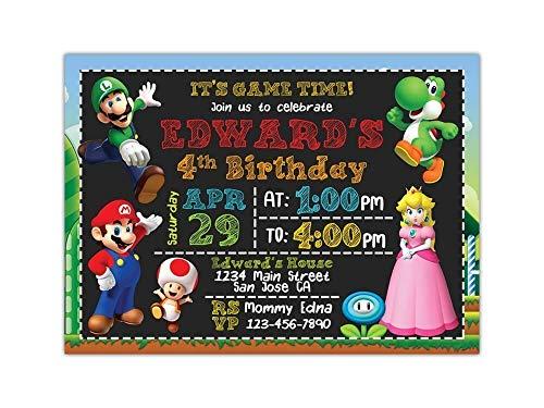 Custom Super Mario Birthday Party Invitations for Kids, 10pc-60pc 4