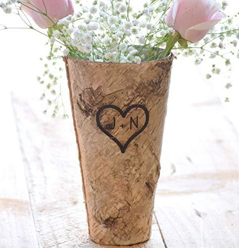 (Personalized Birch Vase - Engraved Birch Vase - Wood Planter - Personalized Wedding Gift - 9