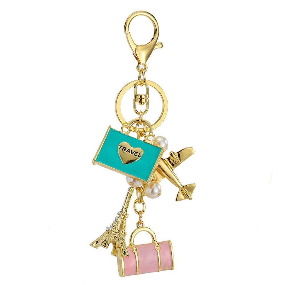 Andyshi Fashion Cute Happy Travel Theme Design Keychain Key Chain Sparkling Key Ring Charm Purse Pendant Handbag Bag Decoration Holiday Gift For Women Girls