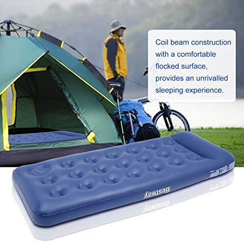 Ensteinberge Bestway Single Person Inflatable Mattress with 2 PCS Pillows Outdoor Air Bed Flocking Camping Pad with Air Pump