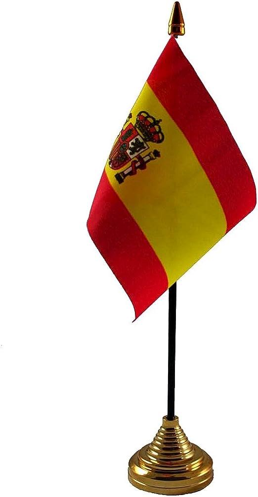 España con escudo de mesa bandera y base Fútbol: Amazon.es: Jardín
