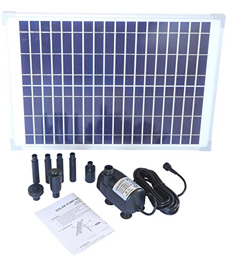 Solariver Solar Water Pump Kit - 360+GPH - Submersible Pump and 20 Watt Solar Panel for Sun Powered Fountain, Waterfall, Pond Aeration, Aquarium, Aquaculture (NO Battery) ()
